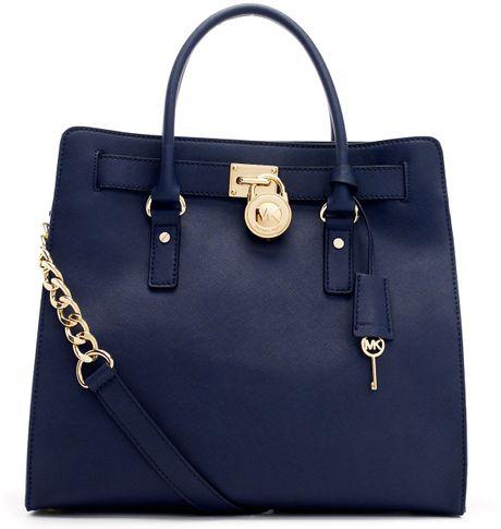 Michael Michael Kors Large Hamilton Saffiano Tote Bag in Blue (navy)