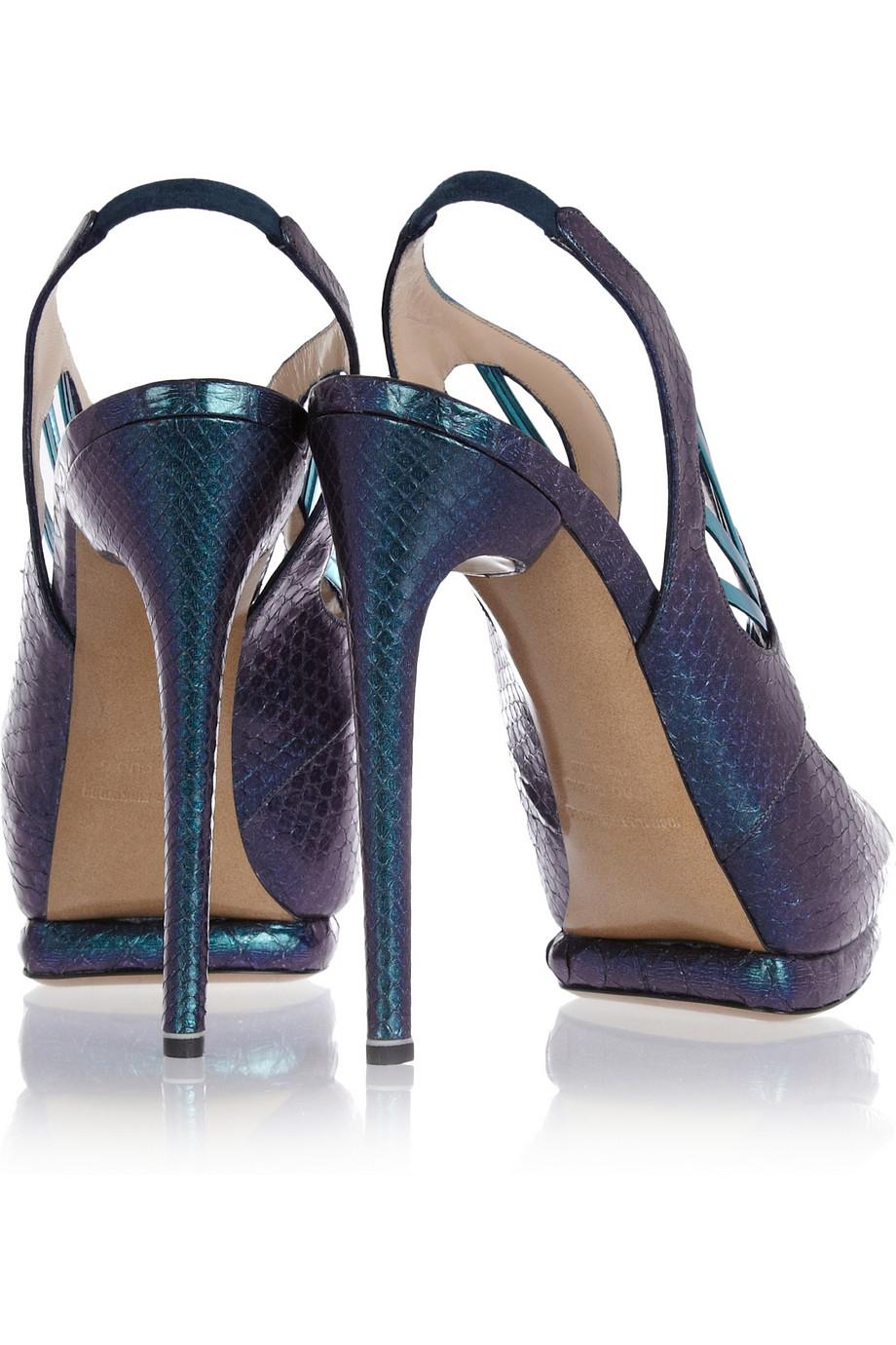 Nicholas Kirkwood Metallic Python Sandals In Green Lyst