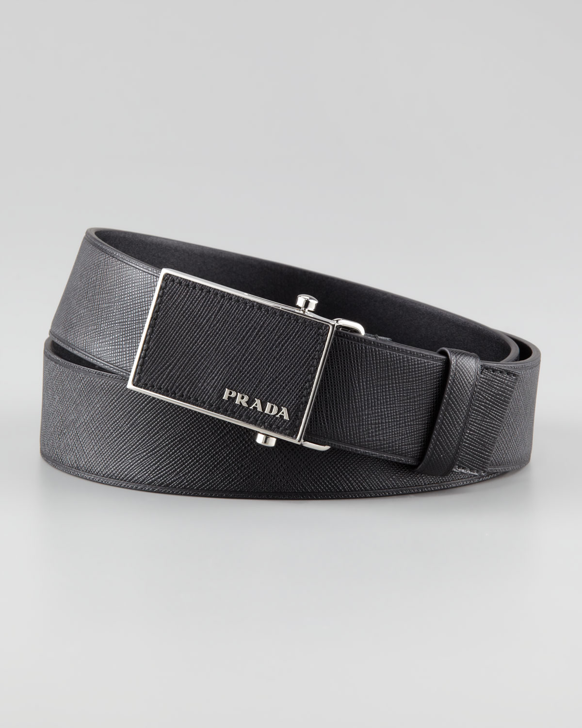 Prada Saffiano Leather Belt in Black for Men (90 36) | Lyst