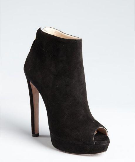 prada black suede peep toe ankle boots in black lyst