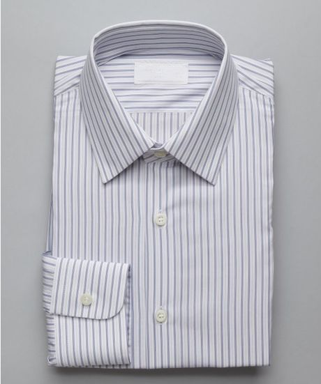 Prada blue and white stripe cotton point collar dress for Blue and white striped shirt with white collar