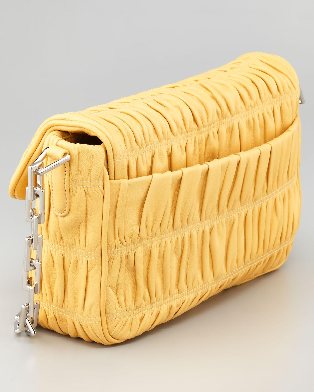Prada Napa Gaufre Chain Shoulder Bag in Yellow   Lyst