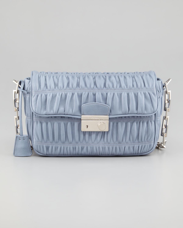 Prada Napa Gaufre Chain Shoulder Bag in Blue (pervinca) | Lyst