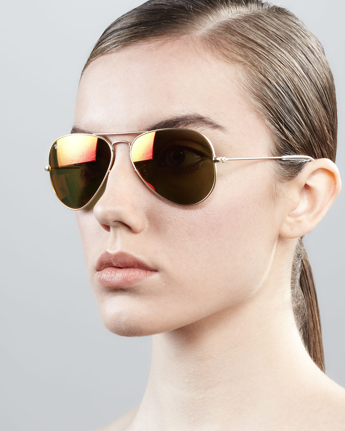 e8d78debf1634 ... mirror lens brown pink usa lyst ray ban aviator sunglasses with flash  lenses in metallic 2789b a66f8 ...