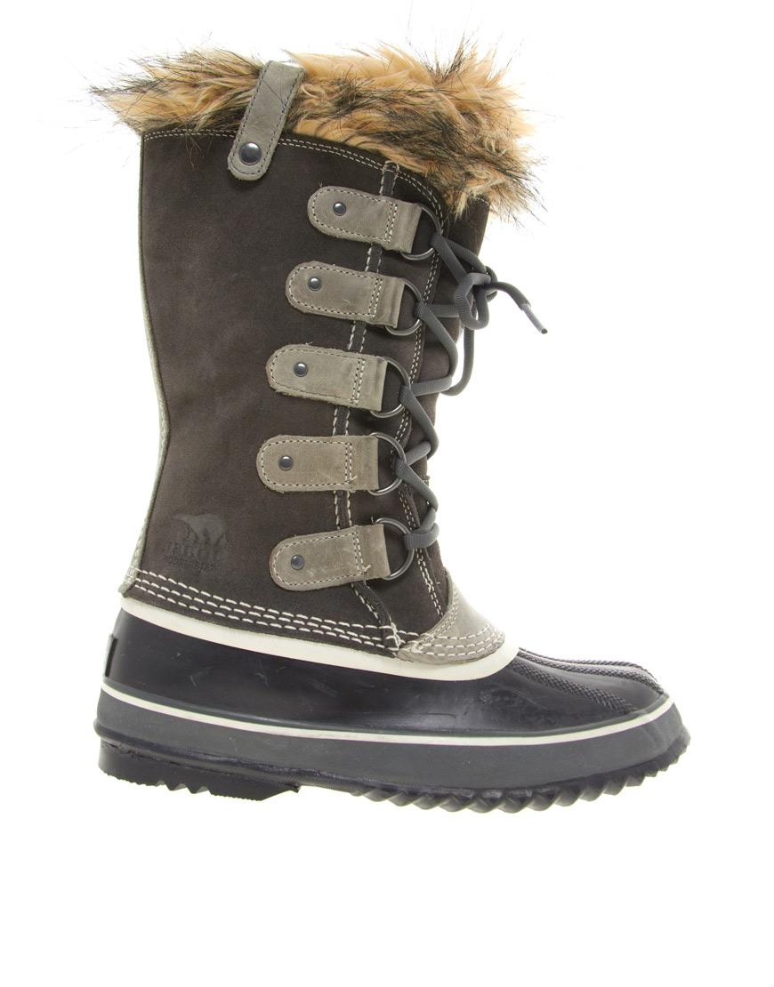 Lyst Sorel Joan Of Artic Suede Amp Faux Fur Boots In Green