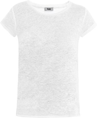 Acne Copy Linen T-Shirt - Lyst