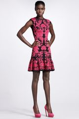 Alexander McQueen Puckered Floral Intarsia Dress - Lyst