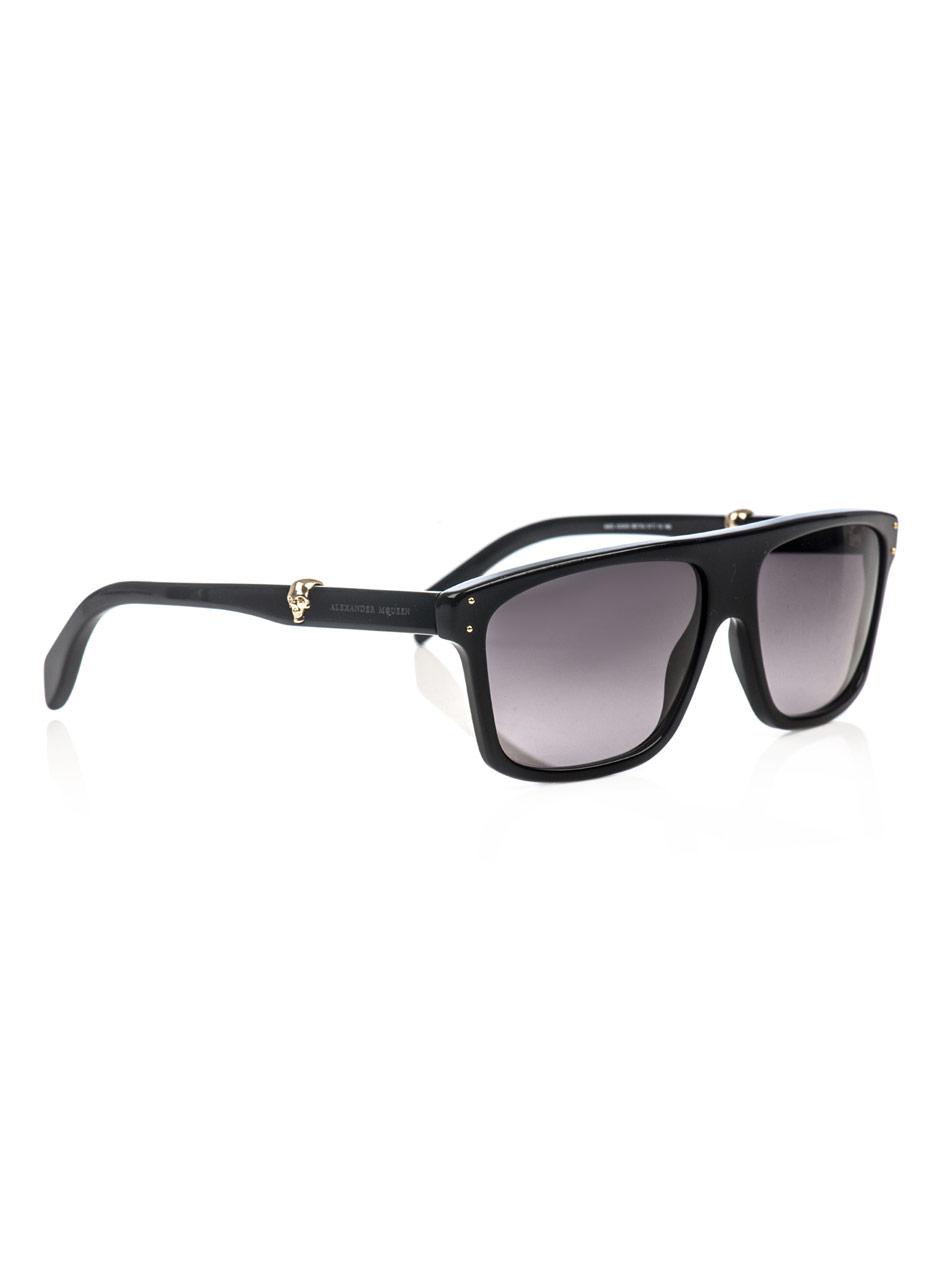 f0fe20d7b0b Lyst - Alexander McQueen Gold Skull Matte Sunglasses in Metallic for Men