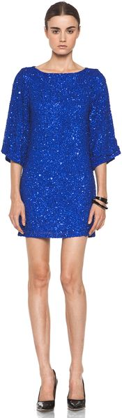 Alice + Olivia Lari Bell Sleeve Sequin Tunic Dress in Cobalt - Lyst