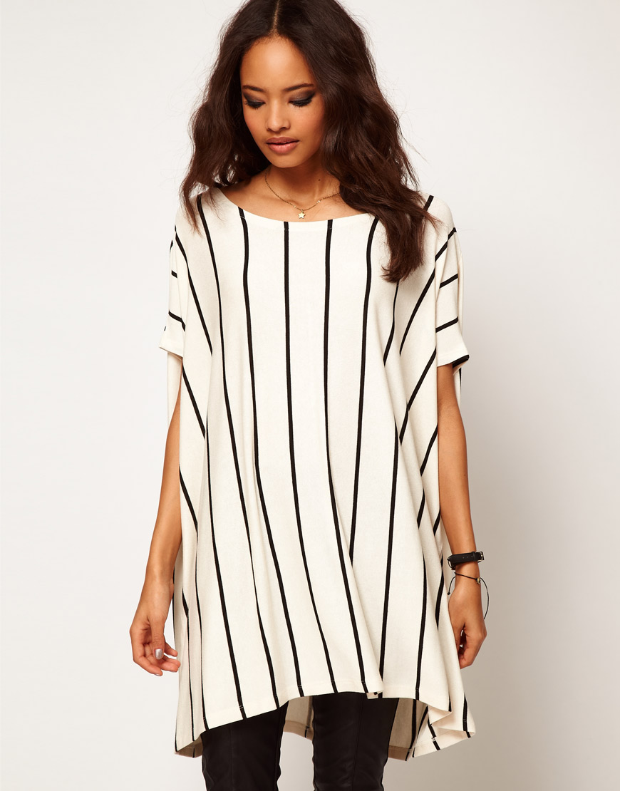 c9561697e0 ASOS Collection Asos Oversized Tshirt with Vertical Stripe in ...