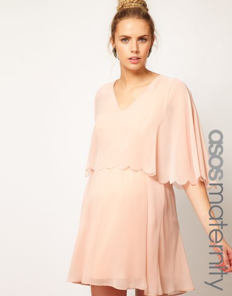 Asos Maternity Chiffon Dress With Scalloped Edge In Pink