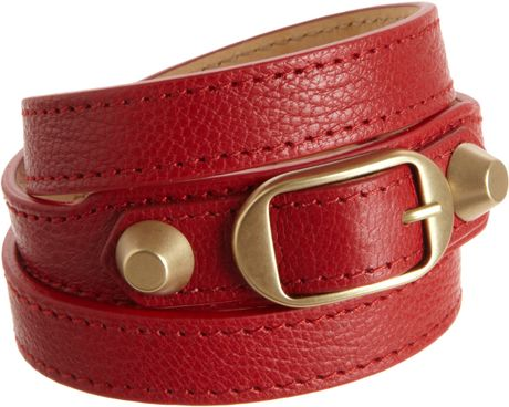 Balenciaga Arena Classic Double Tour Bracelet in Red (gold) - Lyst