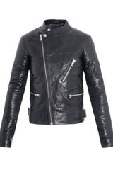 Blk Dnm Leather Collarless Biker Jacket - Lyst