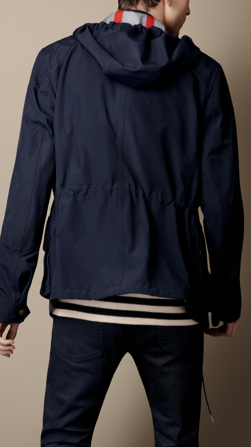 Burberry Brit Hooded Field Jacket In Blue For Men Lyst