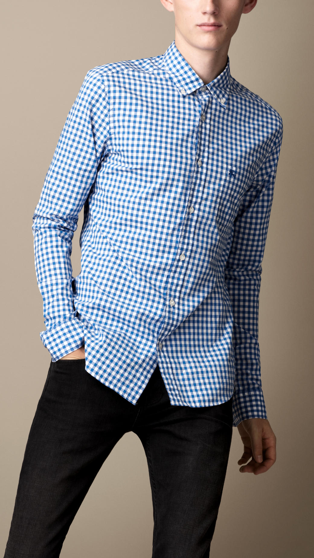 Lyst burberry brit buttondown gingham shirt in blue for men for Mens blue gingham shirt