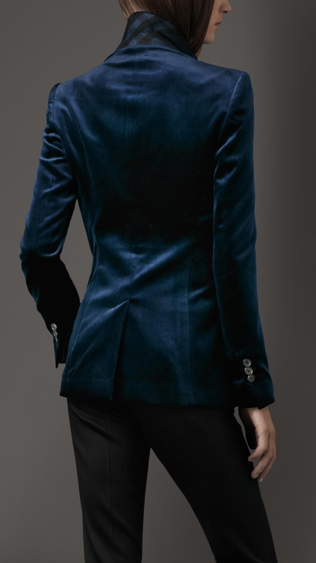 Burberry Stretch Velvet Jacket In Blue Lyst