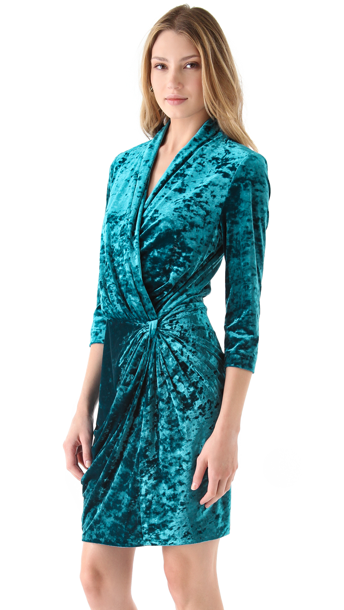 Catherine Malandrino Crushed Velvet Wrap Dress In Blue Lyst