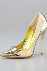 Jimmy Choo Mime Perforated Mirrored Leather Pump - Lyst
