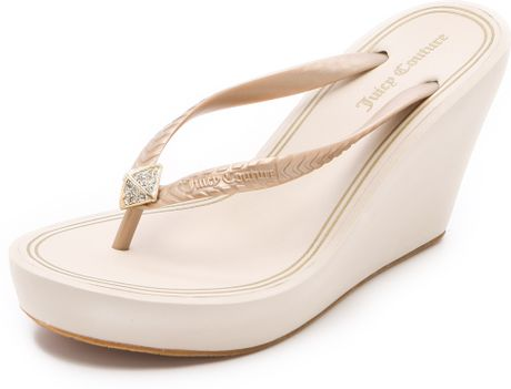 Juicy Couture Britt Wedge Flip Flops In Beige Gold Lyst
