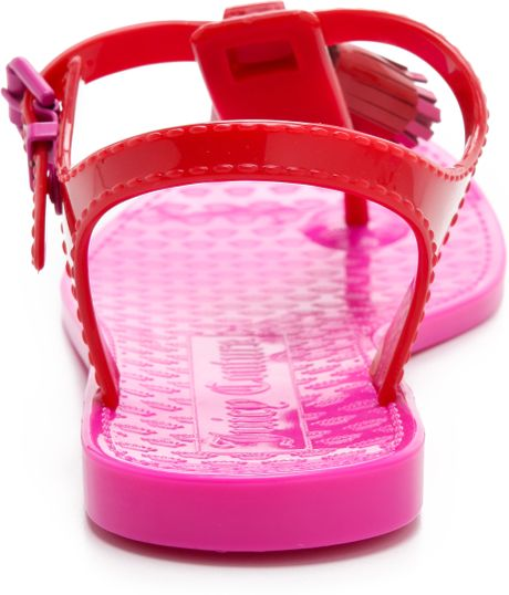 Juicy Couture Jelly Thong Sandals In Pink Red Lyst