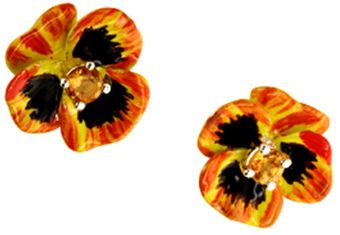 Karen Walker Enamel Flower Earrings - Lyst