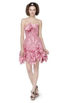 Oscar de la Renta Silk Taffeta Ribbon Pleated Dress - Lyst