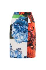 Preen Grayson Poppy Print Pencil Skirt - Lyst