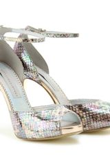 Stella McCartney Snake Embossed Print Platform Sandals - Lyst