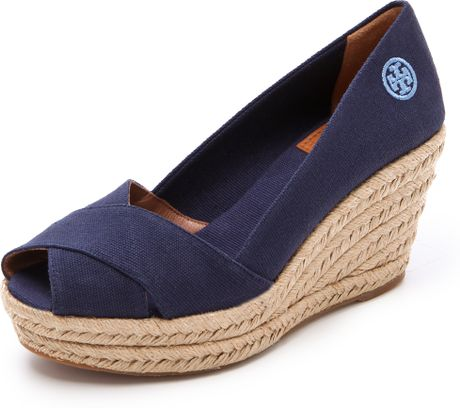 Tory Burch Filipa Wedge Espadrilles in Blue (navy)