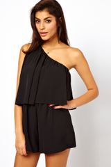 ASOS Collection Asos Playsuit with One Shoulder - Lyst