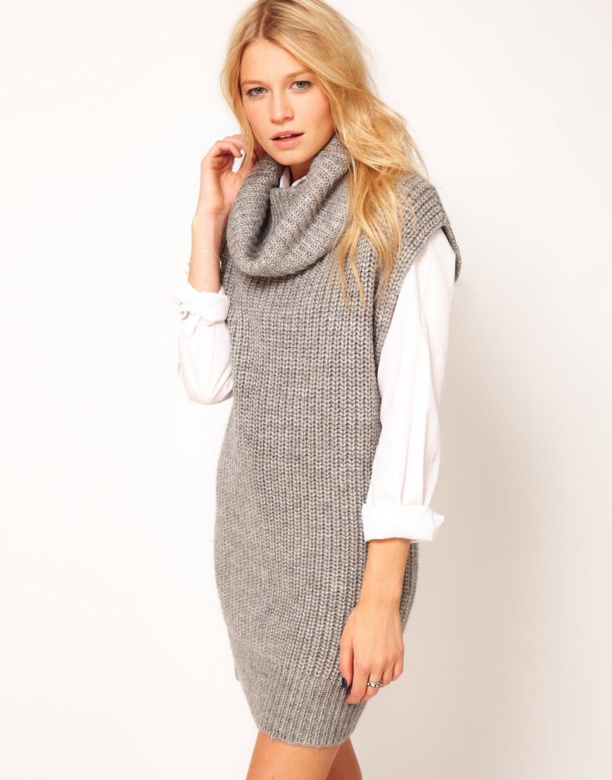 1afb14e28e26a Lyst - ASOS Collection Sleeveless Cowl Neck Dress in Gray
