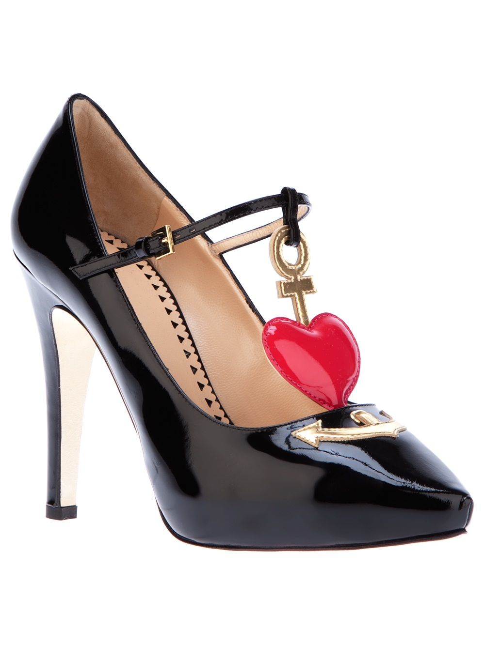 Lyst Boutique Moschino Heart Detail Pump In Black