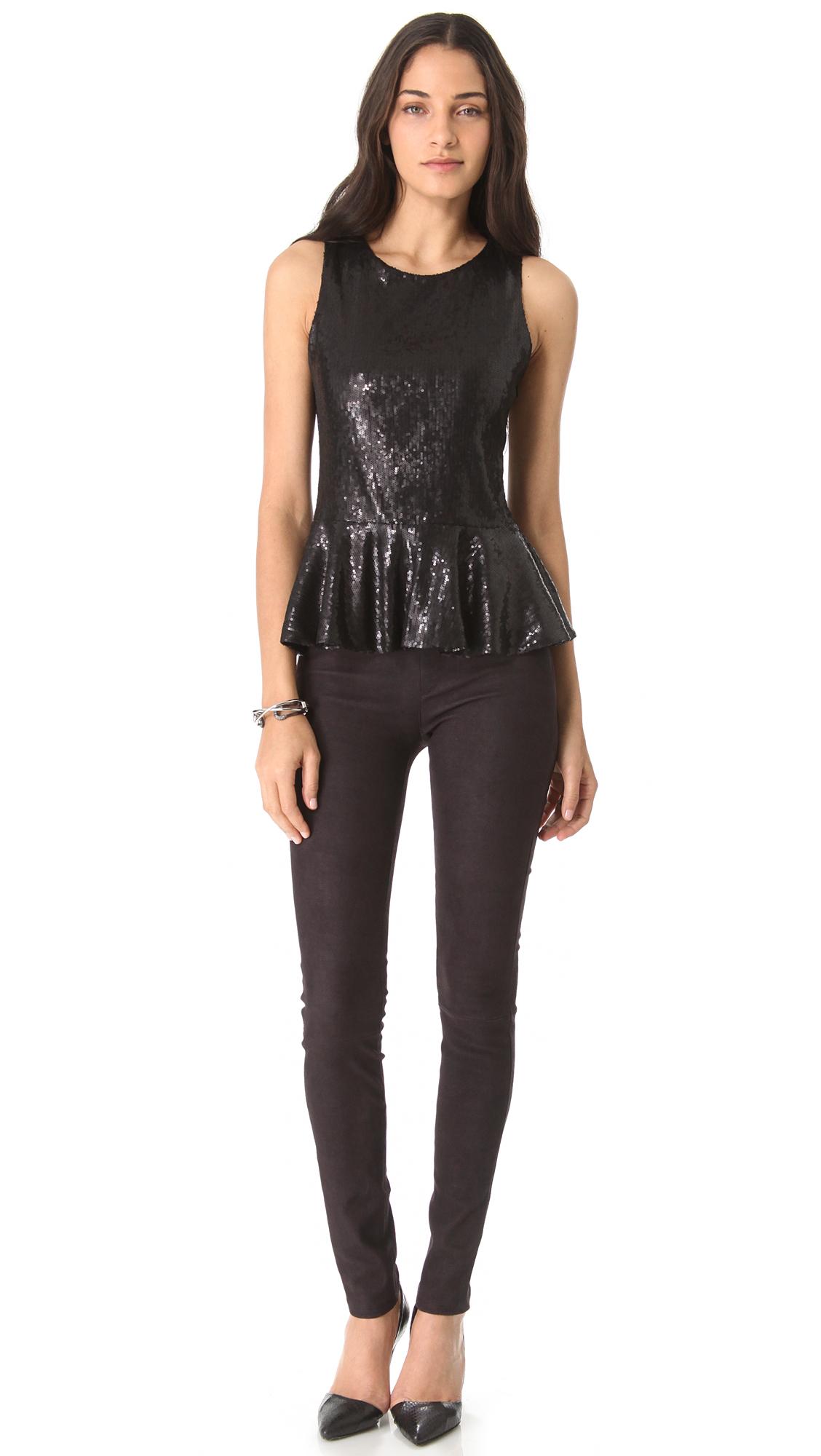Parker Sequin Peplum Top in Black | Lyst