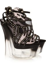 Versace Studded Suede and Mesh Platform Sandals - Lyst