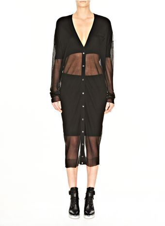 Alexander Wang Sheer Double Layer Long Cardigan - Lyst
