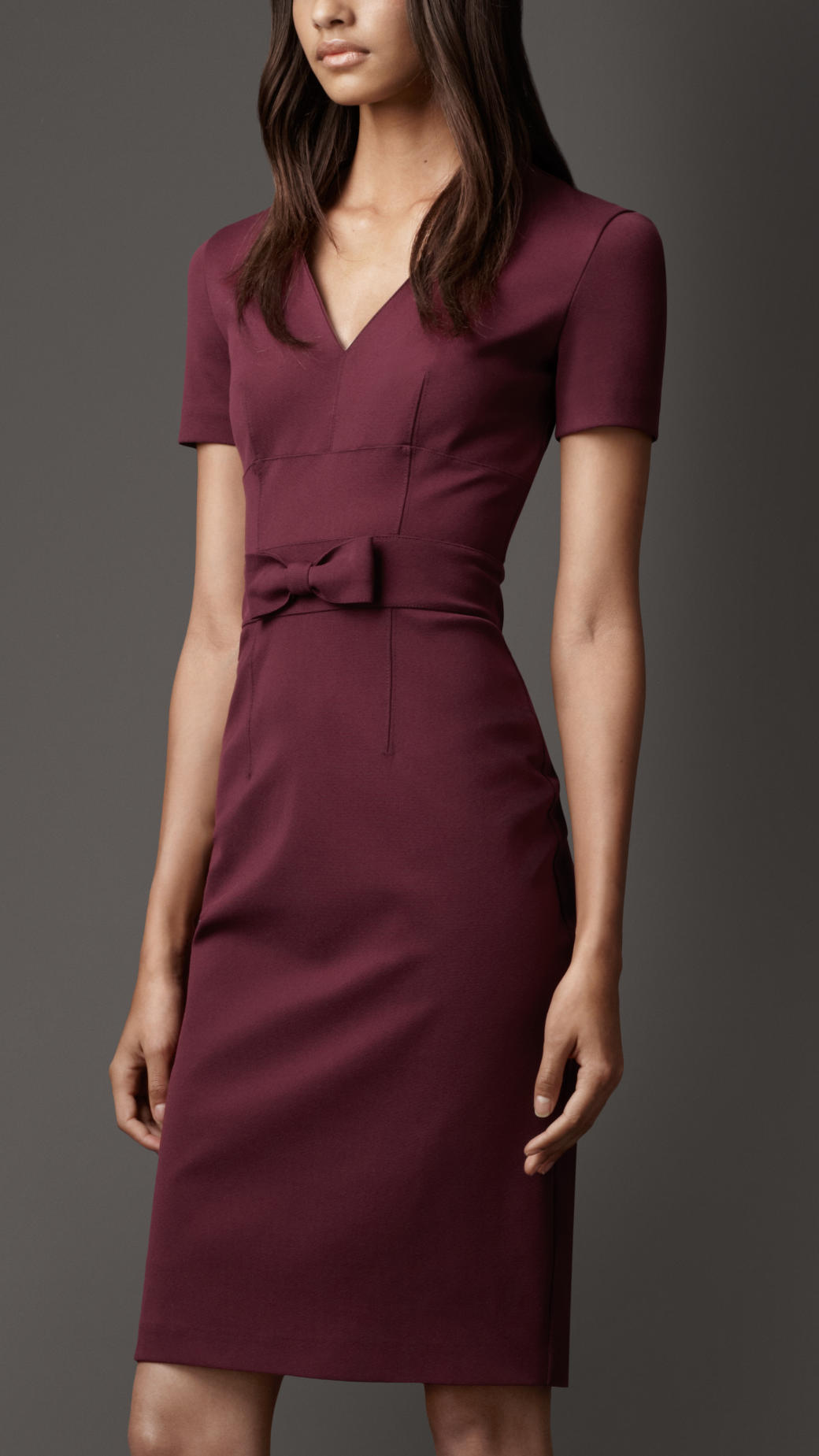 8c713f464aa Lyst - Burberry Bow Detail Dress in Purple