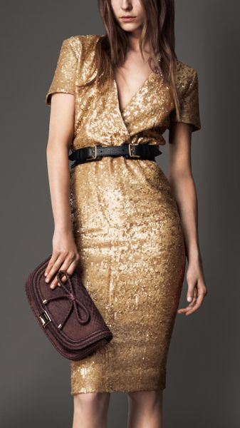 Burberry Sequin Cross-over Dress in Gold (vintage gold) - Lyst