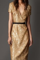 Burberry Sequin Crossover Dress in Gold (vintage gold) - Lyst