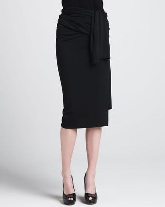 Donna Karan New York Jersey Wrap Waist Skirt - Lyst