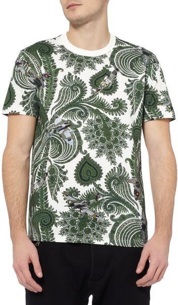 Givenchy Paisley And Planeprint Cotton Tshirt In White For