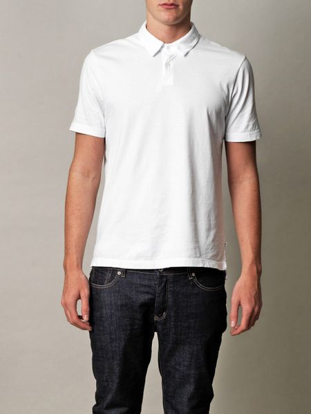james perse supima cotton standard polo shirt in white for