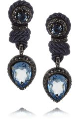 Lanvin Crystal and Cord Clip Earrings
