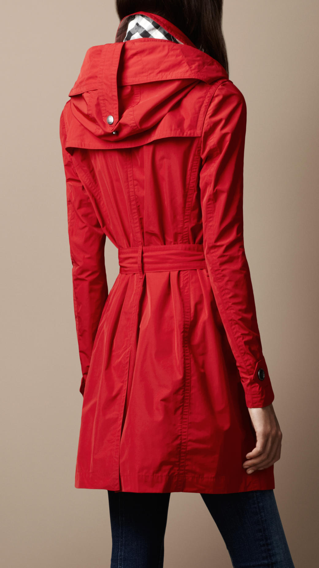 Burberry brit Midlength Technical Taffeta Hooded Trench Coat in ...