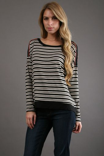 Ella Moss Ginger Long Sleeve Top in Black - Lyst
