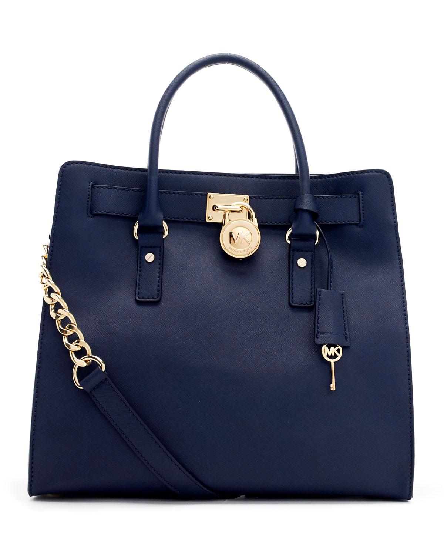 Michael kors Hamilton Ew Satchel 18k Bag in Blue | Lyst
