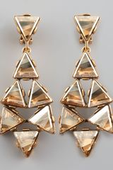 Oscar de la Renta Triangle Cluster Clip Earrings Golden - Lyst