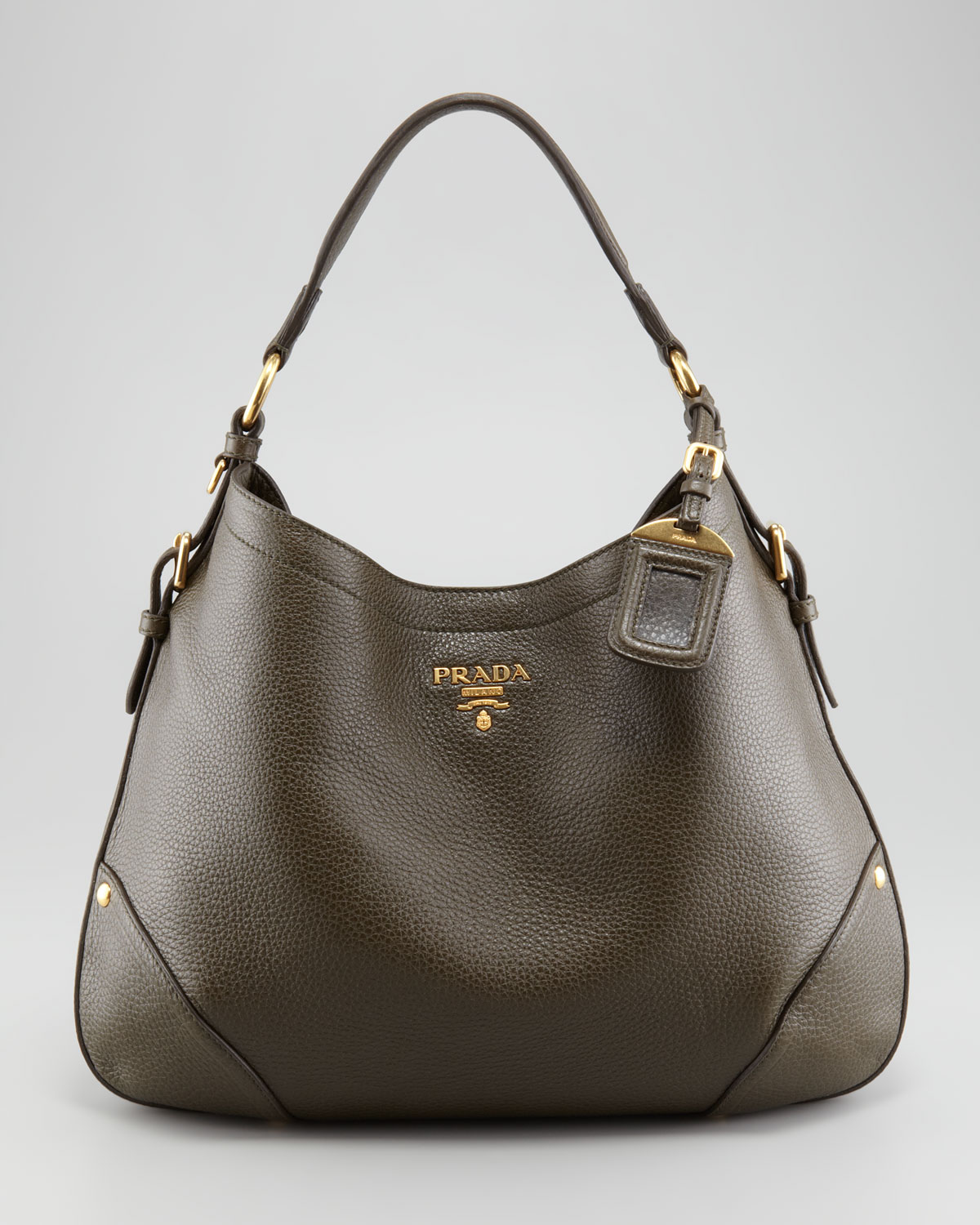 Prada Vitello Daino Snap Hobo Bag in Brown | Lyst