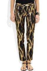 Michael Kors Samantha Metallic Ikat Jacquard Pants in Gold (black) - Lyst