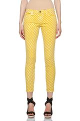 Current/Elliott Polka Dot Pant in Lemon Grass - Lyst
