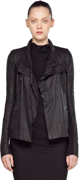 Rick Owens Leather Giacca Pelle Jacket in Black - Lyst